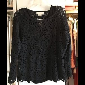 Black Crocheted Sweater Layered With Black Tank